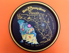 1970s Disney World Florida Metal Tray with Map by TheFidorium