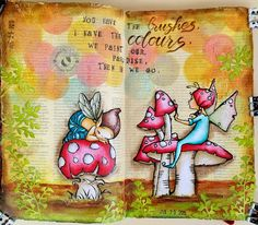 JIJI Cards - Art Journal Page 20: Brushes and colors #adayfordaisies #emeraldfairies