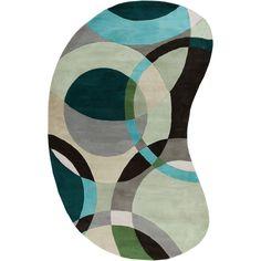Hand-tufted Balen Hunter Green Geometric Circles Wool Rug (8'x10'), Size 8' x 10'