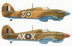 N° 1 (SAAF) Squadron Hurricane's Mk1 in 1941 & MkIIc in 1942