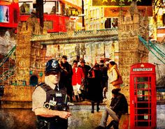 Photo art montage print of some of London's most loved landmarks, for your wall.  Iconic London, Photo Art, Wall Art, Home Décor, Photo Art Print,London, London Icons, London Attractions, Giclee prints