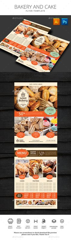 Bakery and Cake Menu Template PSD, AI Illustrator. Download here: http://graphicriver.net/item/bakery-and-cake/16554523?ref=ksioks