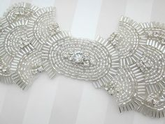 Silver beaded Rhinestone Bow wedding Head piece by allforloveLOVE, $55.00