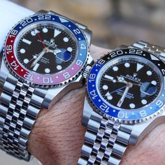 This comparison consists of the newest versions of the Rolex Batman and Rolex Pepsi Therefore, these two watches are identical, with the exception of the colors. Fancy Watches, Rolex Watches, Watches For Men, Batman 2019, Batman Vs, Raymond Lee, Rolex Batman, Rolex Gmt Master, New Rolex