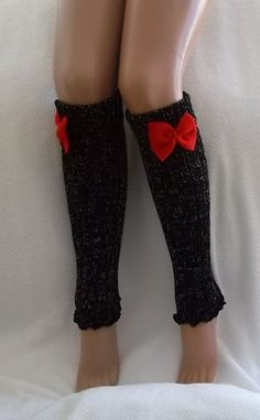 Black and Red Bow Leg Warmers Boot Socks  Machine Knit  Women's Socks Winter Socks Christmas Gift