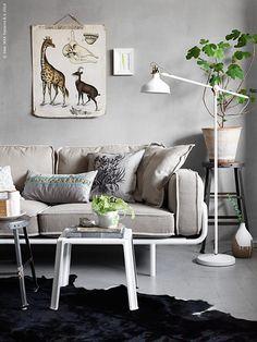 IKEA Ranarp lamp in living room, moving current white lamp to nursery? Ikea Living Room, Living Room Flooring, Ikea Ps 2012, Copper Bedroom, Ikea Bank, Office Bed, Ikea Inspiration, White Floor Lamp, Sweet Home