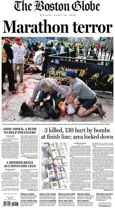 "Boston Globe: ""Marathon terror"" with photo of injured woman being aided"