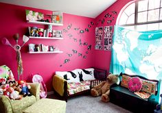 in LOVE with this education bedroom. check the animal alphabet and map curtain, i don't even care that its pink