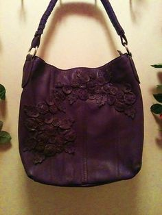Tosca Blu Italian buttery soft leather purse in purple, floral embellishments, a work of art! at www.backstagebargains.com, benefiting children.