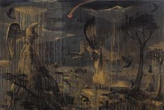 Bill Hammond, Ancient Pitch, 2007. Acrylic on canvas, 1200 x 1800mm. Private Collection, Wellington.