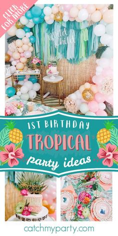 Check out this gorgeous tropical wild one!! The cake will blow your mind! See more party ideas and share yours at CatchMyParty.com #catchmyparty #partyideas #tropicalparty #tropical #wildone #girl1stbirthdayparty
