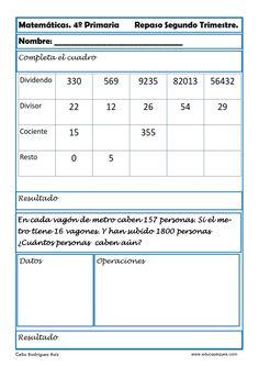 Fichas de Matemáticas Cuarto Primaria | Educational resources for ...