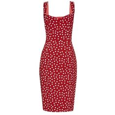 DOLCE & GABBANA Polka-dot print crepe dress (€550) ❤ liked on Polyvore featuring dresses, vestidos, robes, dolce & gabbana, red dress, sweetheart cocktail dress, evening dresses, special occasion dresses and cocktail dresses