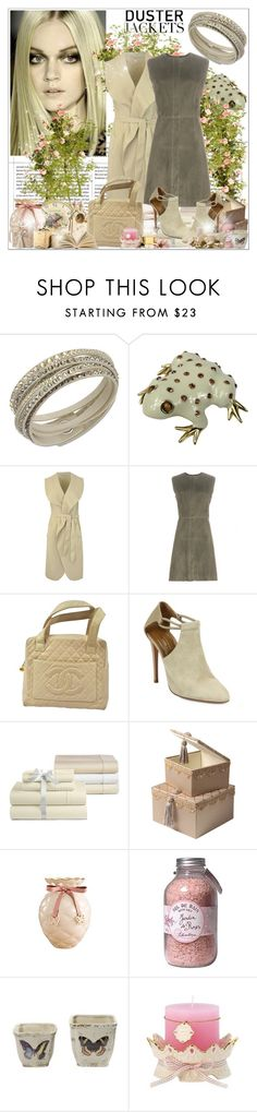 """""""So Cute: Duster Jackets"""" by andrejae ❤ liked on Polyvore featuring Swarovski, Ciner, Balenciaga, Chanel, Aquazzura, Bloomingdale's, Jardin, Creative Co-op, Lenox and CO"""