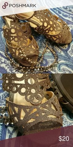 "JUST IN! NWT! Bamboo Pewter Sparkle Sandals! Never worn. Brand new. They're still  attached by the original plastic. Price sticker still attached.  Flawless! Very Sparkly in ""real life"". It's hard to catch sparkle in pictures. Perfect in every way! Great Christmas Gift! Bamboo Shoes Sandals"