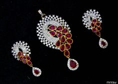 Beautiful maroon pearls pendant set