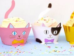 cupcake wrappers for the cat birthday party! Cat Birthday, Birthday Cupcakes, Birthday Party Themes, Party Cupcakes, Happy Birthday, Kitty Party, Cupcake Wrappers, Cupcake Cakes, Bar Wrappers