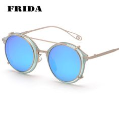 dcaa63349294 Fashion 2016 Newest Eyeglass Frame Sunglasses Round Style Mirror lens Clear  lens Vintage glasses Women