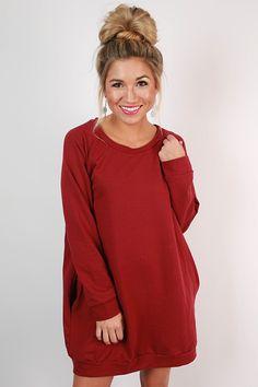 cdc3009db693f Cozy Jet Setting Sweatshirt Tunic Dress in Crimson