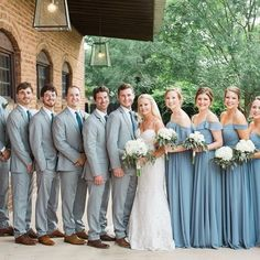Check out the stunning bridal party from today's real wedding. We absolutely adore this dusty blue and grey color scheme for a spring wedding in Georgia! This bride let her bridesmaids choose their st Groomsmen Colours, Gray Groomsmen Suits, Bridesmaids And Groomsmen, Gray Suits, Grey Suit Blue Tie, Black Tux, Wedding Bridesmaids, Dusty Blue Dress, Dusty Blue Bridesmaid Dresses