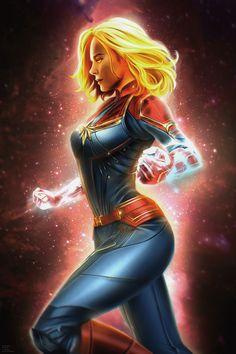Captain Marvel by Mr. Ms Marvel, Marvel Comics, Arte Dc Comics, Marvel Women, Marvel Girls, Comics Girls, Marvel Heroes, Marvel Avengers, Spiderman Marvel