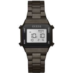 Guess Unisex Digital Gunmetal Stainless Steel Bracelet Watch 39x39mm ($115) ❤ liked on Polyvore featuring jewelry, watches, gunmetal, digital wrist watch, stainless steel wrist watch, guess jewellery, guess wrist watch and stainless steel watches
