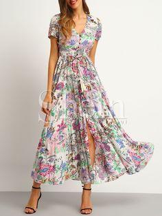 Button Split Front Flare Maxi Dress -SheIn(Sheinside)