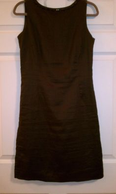Brown linen shift dress with back zip and brown jeweled neckline. Zara, size L.