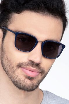 Navy rectangle sunglasses available in variety of colors to match any outfit. These stylish full-rim, medium sized metal sunglasses include free single-vision prescription lenses, a case and a cleaning cloth.