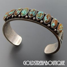 NATIVE AMERICAN VINTAGE KIRK SMITH NAVAJO 925 SILVER 9 TURQUOISE RUG DESIGN THICK CUFF BRACELET