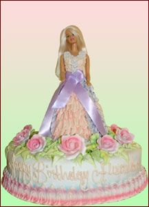 Custom Birthday Cake. Custom Barbie cake with flowers.  Palermo's Bakery creates custom cakes, wedding cakes, birthday cakes, graduation cakes, cake pops, cupcakes, cookies, custom dessert tables and serves the New Jersey/New York Area