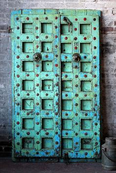 Antique Indian Door Set Teak Wood by hammerandhandimports on Etsy