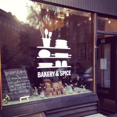 I really love this store's branding. There is something about using iconography as part of your logo or signage to help communicate across multiple fronts - commuters in a hurry, language barriers, or even where your business name doesn't scream bakery your signage will!   Bakery & Spice