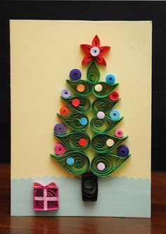 Quilling Christmas Card.  via Etsy.