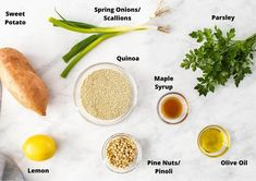 ingredients in this recipe on a white marble background. Sweet Potato Quinoa Salad, Parsley Potatoes, Light Recipes, Main Meals, White Marble, Side Dishes, Tasty, Vegan