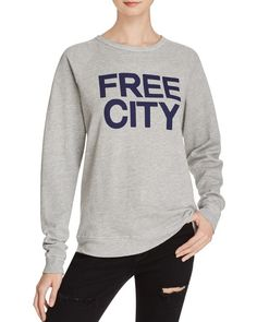 Straight-up cozy, this weekend-worthy raglan sweatshirt from Free City  makes any day a lounge day with soft construction and a slouchy-cool fit.