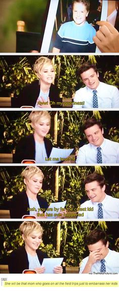 Josh Hutcherson and Jennifer Lawrence. they are the best. Jennifer Lawrence is my idol. Katniss Everdeen, J Law, Josh Hutcherson, Funny Love, The Funny, Juegos Del Ambre, Hunger Games Cast, Tribute Von Panem, Catching Fire