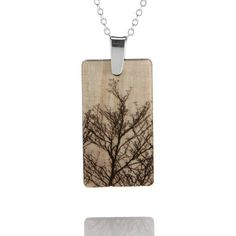 Wood pendant with tree outline- Love this