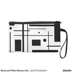 Black and White Abstract Art Custom Wristlet
