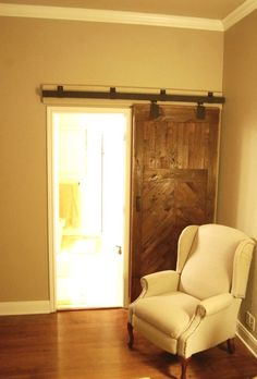 Barn doors are all the rage these days as a great home decor accent. The best part is that you can build a DIY barn door that won't cost you much. Modern French Country, French Country Furniture, French Country House, French Country Decorating, Diy Sliding Barn Door, Diy Barn Door, Barn Door Hardware, Barn Doors, Sliders