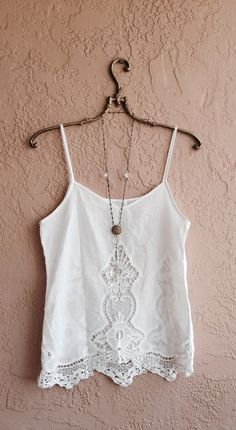 Romantic White cutwork embroidered bohemian camisole Gypsy girl at beach reserved for Teresa