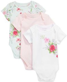 First Impressions 3-Pk. Dots & Flowers Bodysuits, Baby Girls (0-24 months), Only at Macy's | macys.com