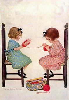 Orenco Originals 2 Girls Winding Yarn by Jessie Willcox Smith Counted Cross Stitch Pattern Images Vintage, Vintage Pictures, Vintage Cards, Tricot D'art, Art Du Fil, Knit Art, Vintage Children, Knitting Projects, Lana