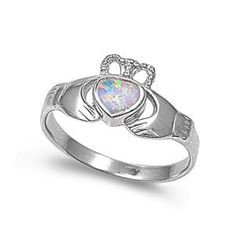 Amazon.com: Sterling Silver Ring with White Lab Created Opal - Claddagh - 10mm x 2mm (Sizes 5-10): Jewelry