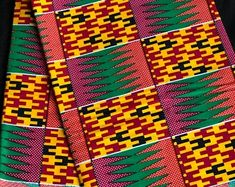 Per yard pink/purple yellow green kente african Fabric/ African Map, African Fabric, Purple Yellow, Pink And Green, Kente Cloth, Soft And Gentle, Ethnic Print, Pattern Illustration, Doll Clothes