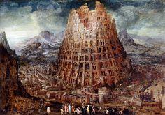 """Ik sta op de rand der wereld en roep: """"Waar zijt Gij?"""" De echo antwoordt: """"Zijt gij? Gij?"""" Towers of Babel Title: Gerard Reve"""
