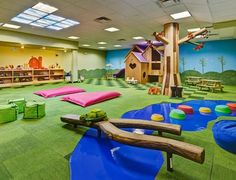 A play room separate from the arts & crafts room. Build a 2 ft wall around for toddler area.