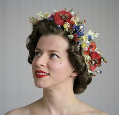 Meet Me in the Meadow    This gorgeous floral crown is made from actual reclaimed vintage millinery from the late 1940s. Red poppies, blue silk
