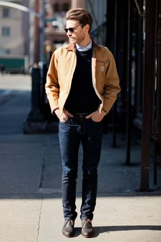 Tan jacket, button up shirt, sweater, dark fitted jeans, boots, and a nice city day. Who could ask for more?