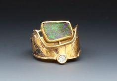 Ring   Marne Ryan. Boulder Opal, diamond, 18k, 22k &24k gold, sterling silver.